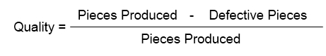Quality = (Pieces Produced - Defective Pieces) / Pieces Produced